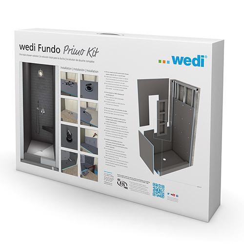 Wedi fundo primo shower kit 3' x 3' with centre drain