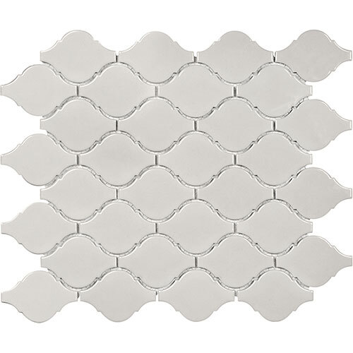 Small Tile Series - Soho Arabesque Warm Grey Gloss Mosaic