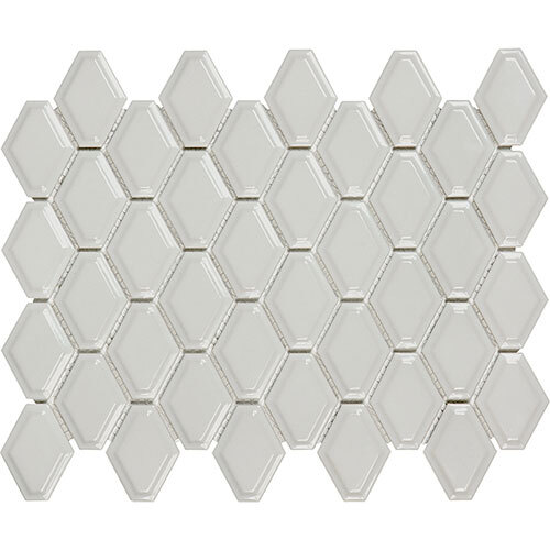 Small Tile Series - Soho Convex Warm Grey Glossy Mosaic