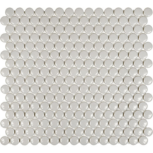 Small Tile Series - Soho Penny Round Warm Grey Gloss Mosaic