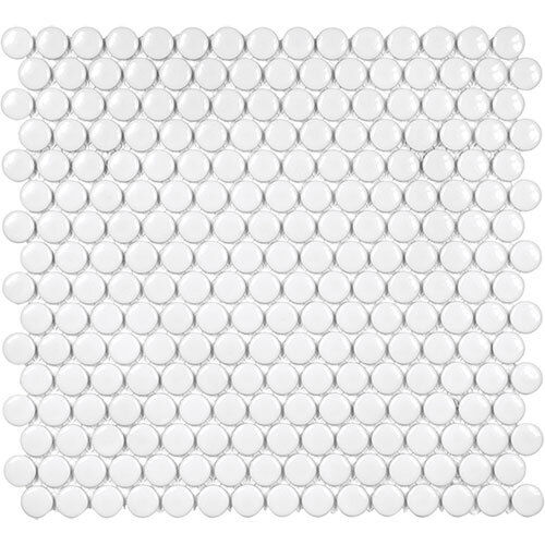 Small Tile Series - Soho Penny Round White Gloss Mosaic