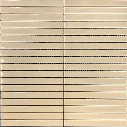 Stripes Tile Series - 5/8x6  Biscotti Gloss Stacked Mosaic