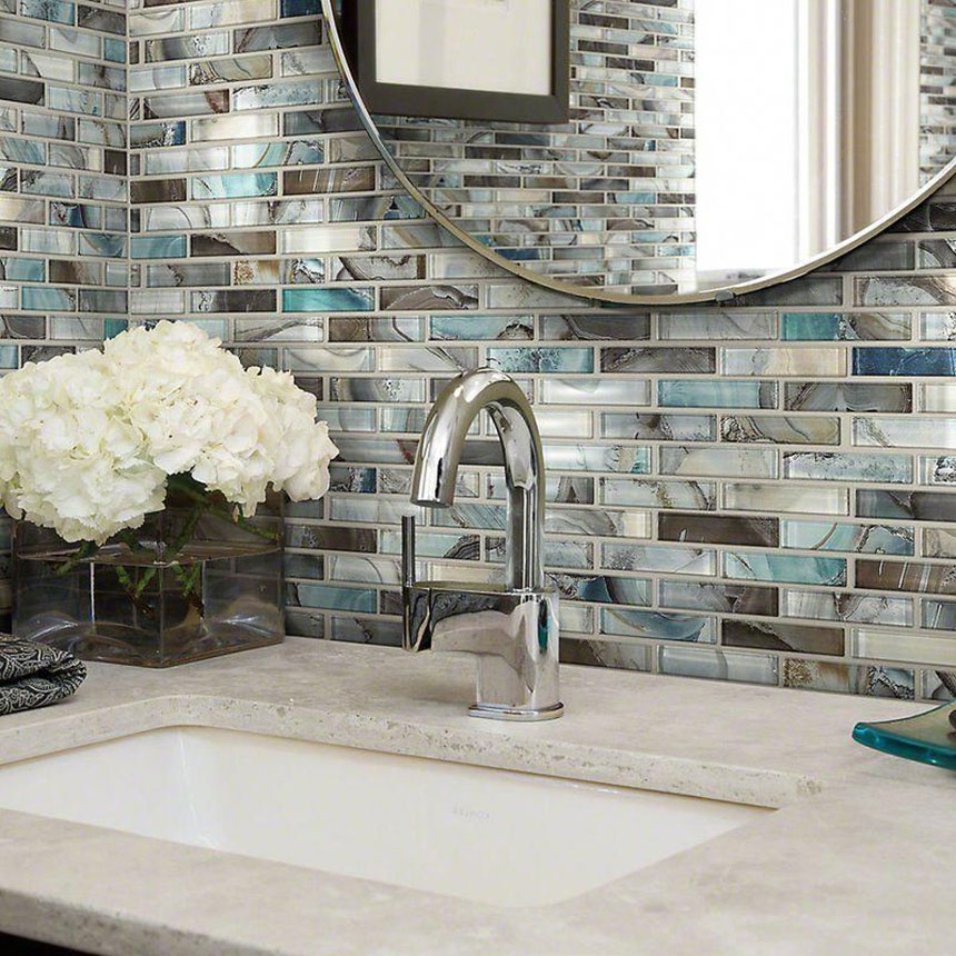 Tile Master Barrie >> Gypsea Glass Mosaic Offset 614 Gloss - Glass Mosaic Wall Tile