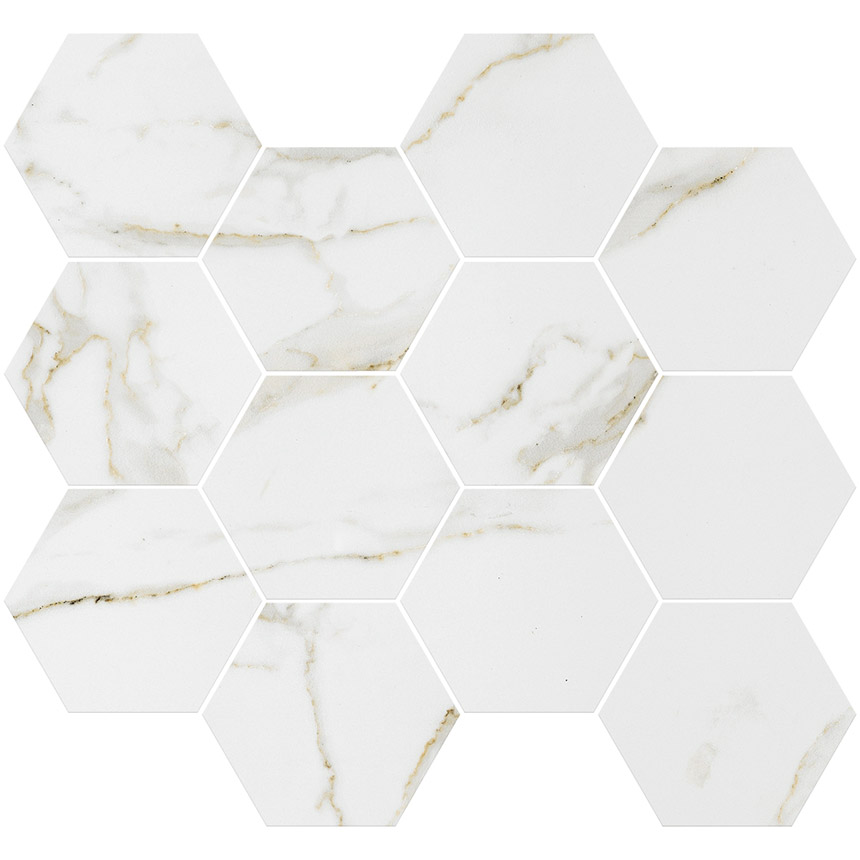 "Marble Look Calacatta Gold Polished 3""x3"" Hex Mosaic Tile Porceain Tile"