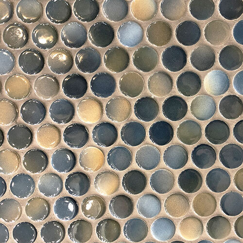 Small Tile Series - Large Penny Round Mosaic in Dark Blue