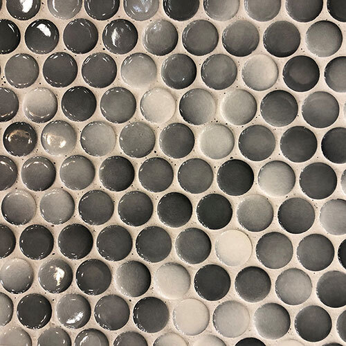 Small Tile Series - Large Penny Round Mosaic in Grey