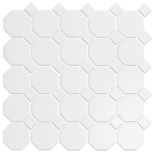 Small Tile Series - Roca Snow White Octagon Mosaic