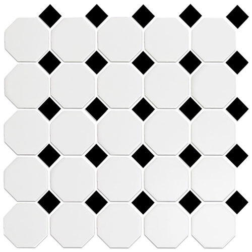 Small Tile Series - Roca Snow White & Black Octagon Mosaic
