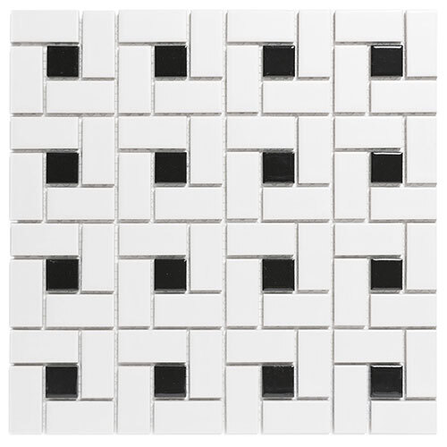 Small Tile Series - Roca White & Black Pinwheel Mosaic