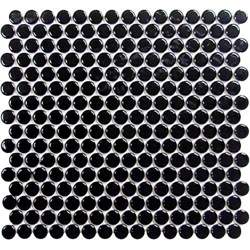 Black Tile Series - Roca Penny Round Black Mosaic