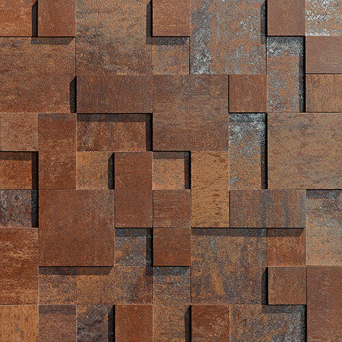 Small Tile Series - Copper 3D Step Mosaic Tile