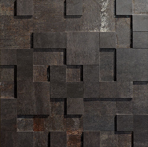Black Tile Series - Iron 3D Step Mosaic
