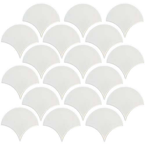 Small Tile Series - Fish Scale White Gloss Mosaic