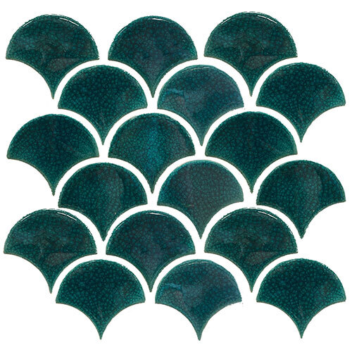 Green & Sage Tile Series - Fish Scale Blue Crackle Mosaic