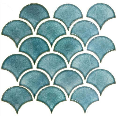 Small Tile Series - Fish Scale Blue Gloss Mosaic