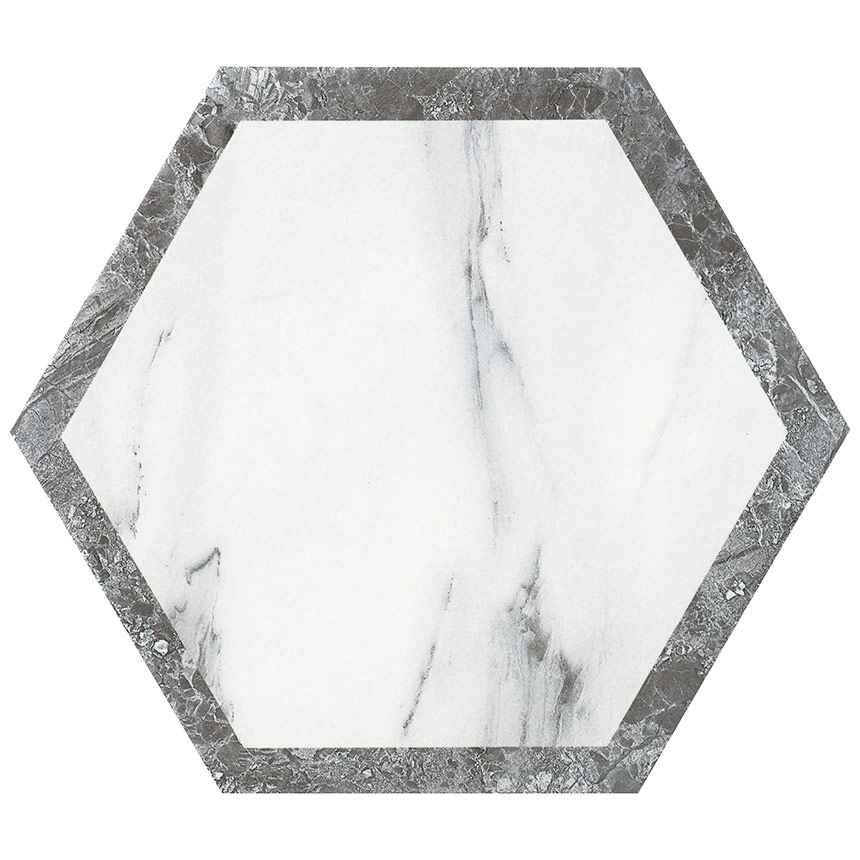 "8""x9"" Carrara Hexagon Decor W1 Porceain Tile"