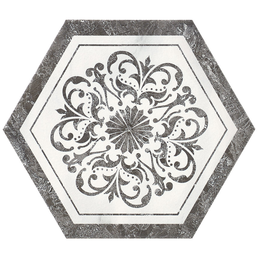 "8""x9"" Carrara Hexagon Decor W2 Tile Porceain Tile"