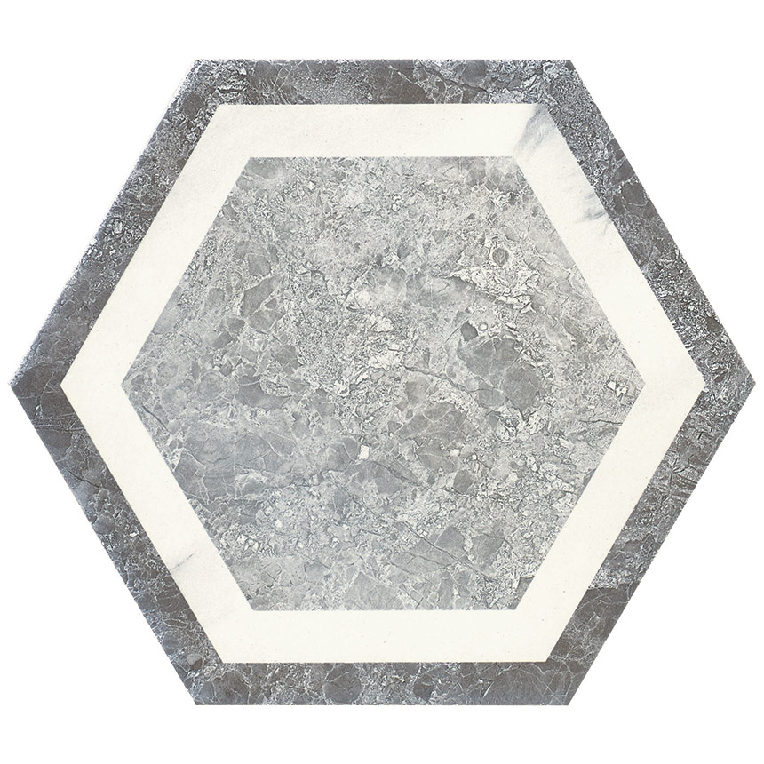 "8""x9"" Carrara Hexagon Decor W3 Tile Porceain Tile"