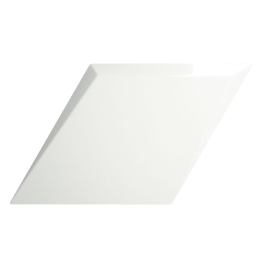 "6""x10"" Rhombus Evoke Drop White Gloss Porceain Tile"